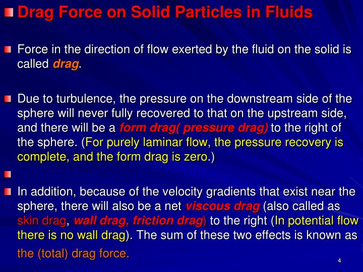 Drag Force on Solid Particles in Fluids
