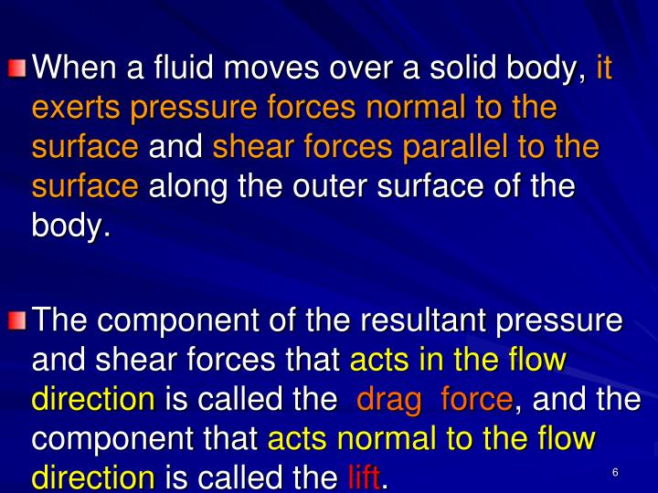 When a fluid moves over a solid body,