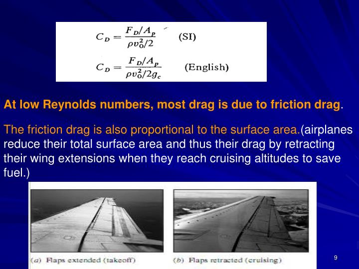 At low Reynolds numbers, most drag is due to friction drag