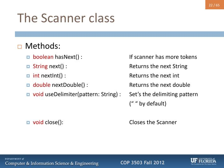 The Scanner class