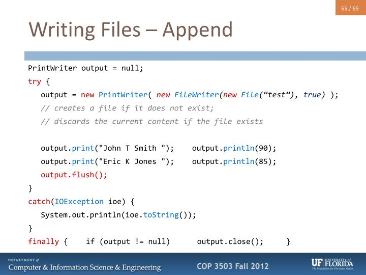Writing Files – Append