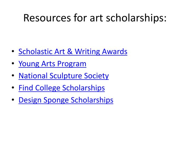 Resources for art scholarships: