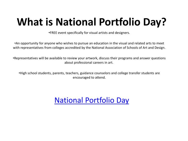 What is National Portfolio Day?