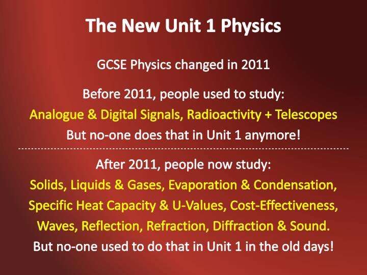 The new unit 1 physics