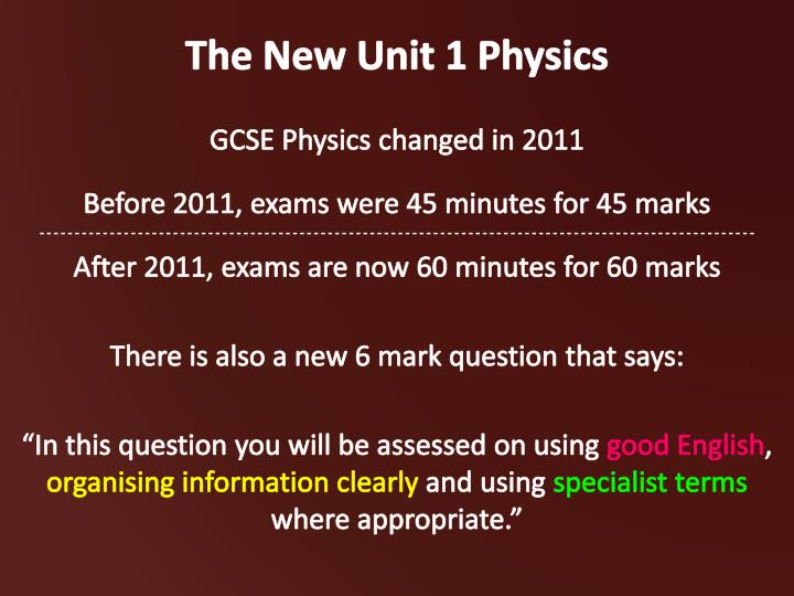 The new unit 1 physics1