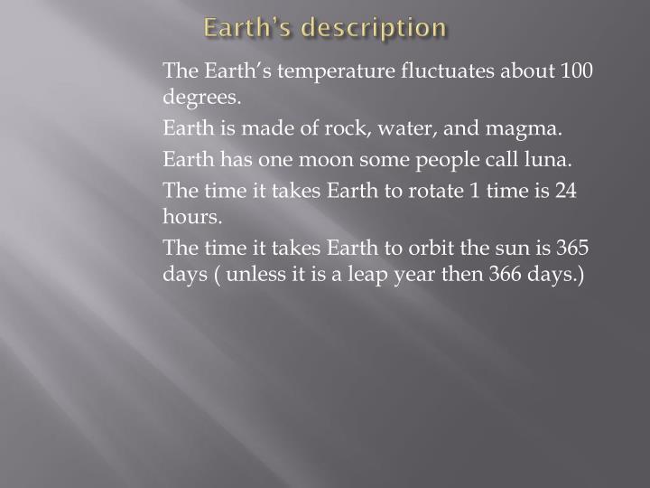Earth's description
