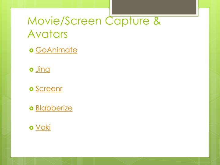 Movie/Screen Capture & Avatars