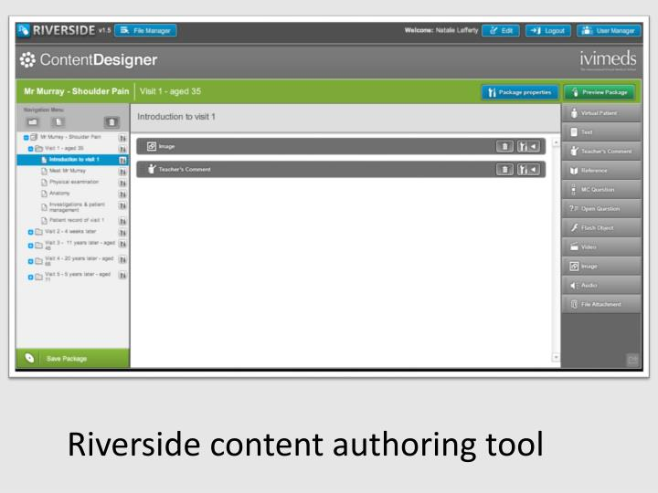 Riverside content authoring tool
