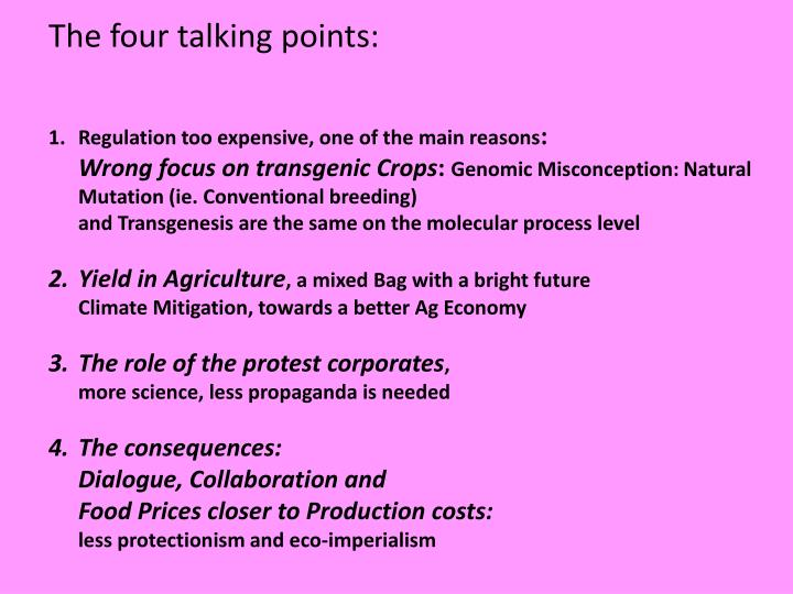 The four talking points: