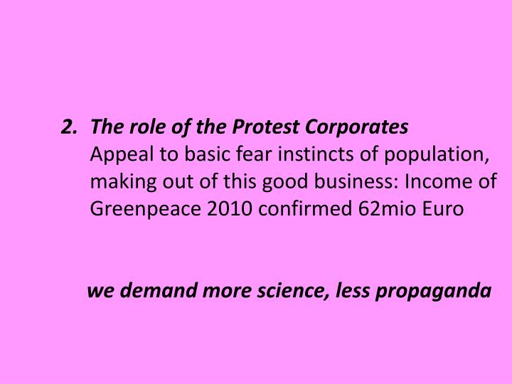 The role of the Protest Corporates