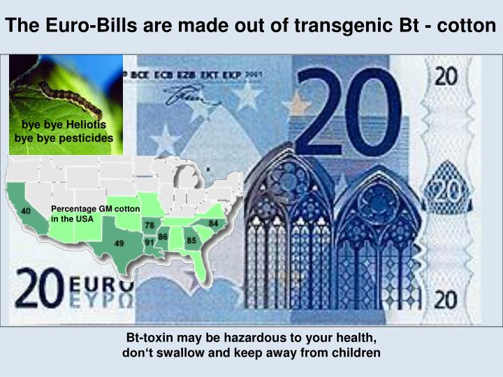 The Euro-Bills are made out of transgenic Bt - cotton