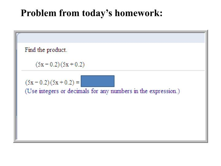 Problem from today's homework: