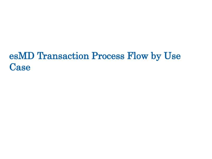 esMD Transaction Process Flow by Use Case