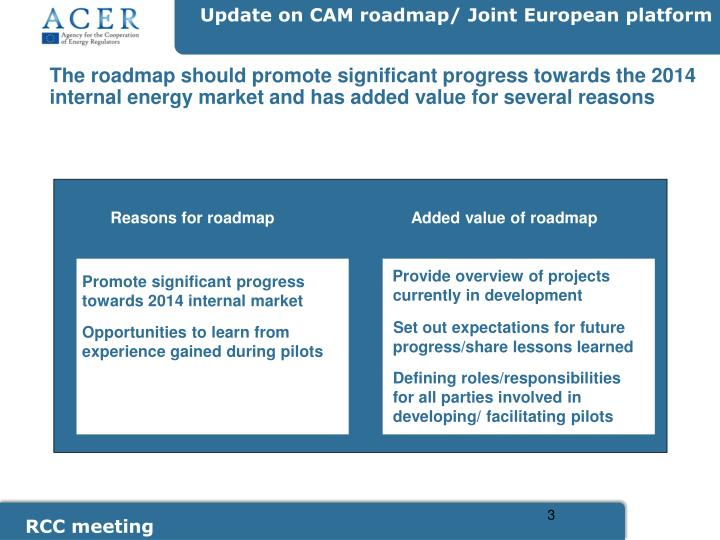 The roadmap should promote significant progress towards the 2014 internal energy market and has adde...