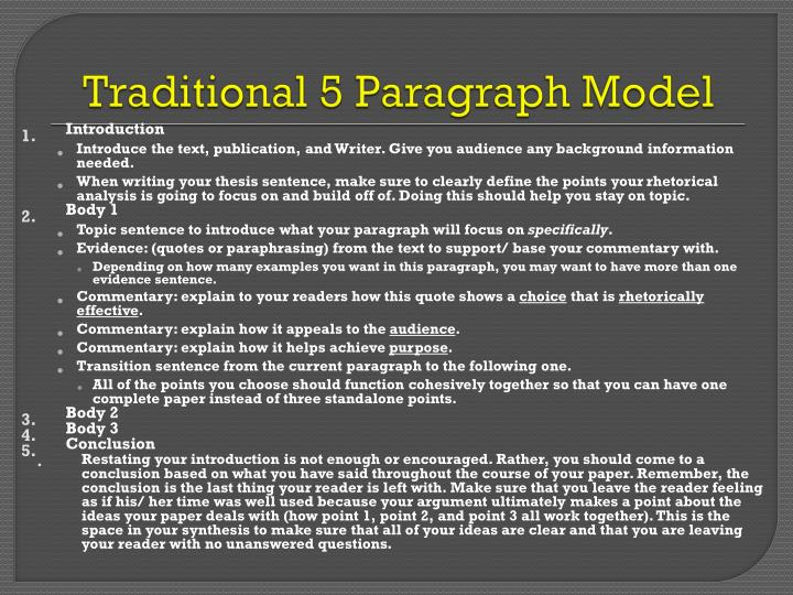 Traditional 5 Paragraph Model