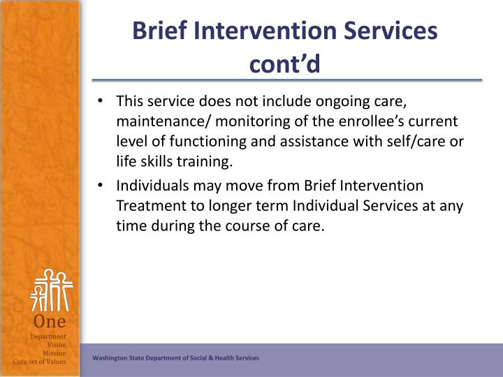 Brief Intervention Services cont'd