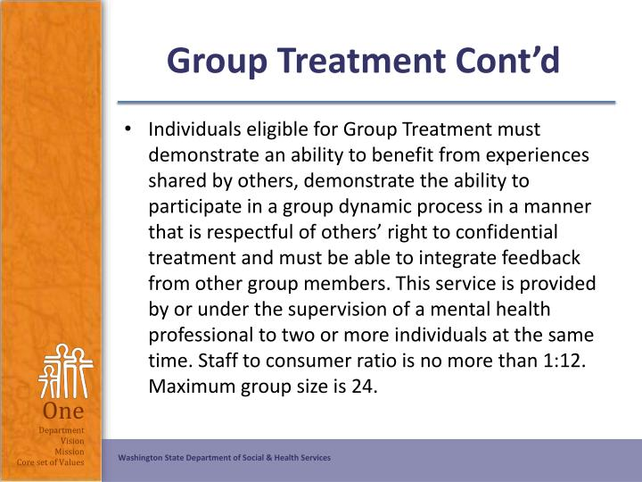 Group Treatment Cont'd
