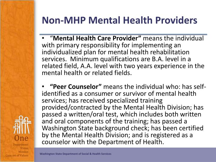 Non-MHP Mental Health Providers