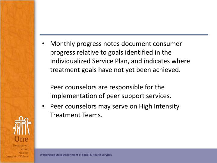 Monthly progress notes document consumer progress relative to goals identified in the Individualized Service Plan, and indicates where treatment goals have not yet been achieved.