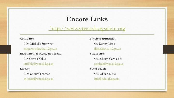 Encore Links