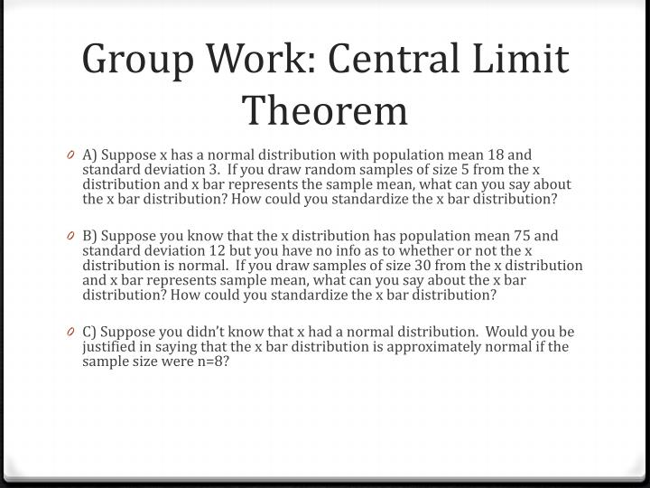 Group Work: Central Limit Theorem