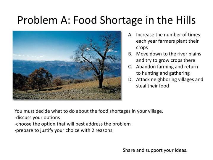 Problem A: Food Shortage in the Hills