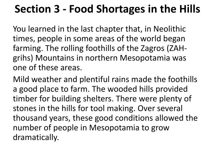 Section 3 - Food Shortages in the Hills