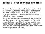 section 3 food shortages in the hills1