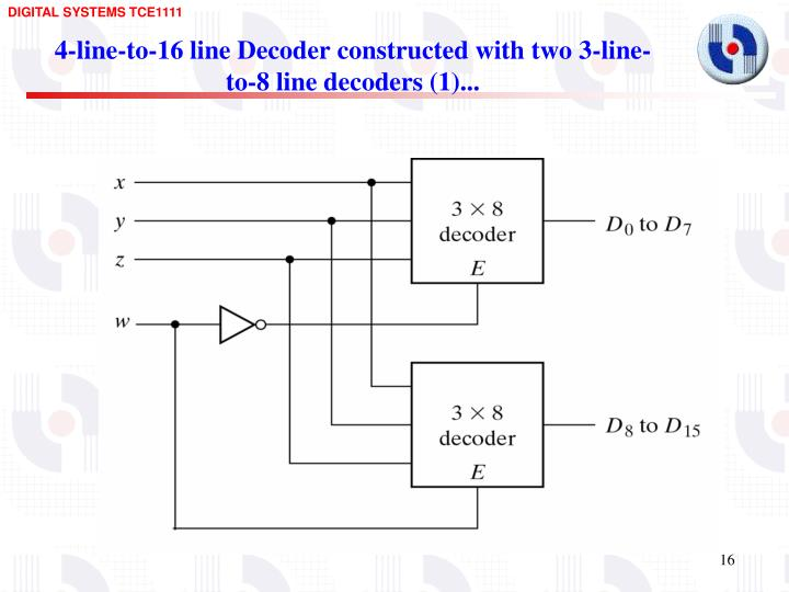 4-line-to-16 line Decoder constructed with two 3-line-to-8 line decoders (1)...