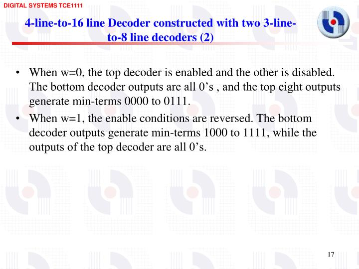 4-line-to-16 line Decoder constructed with two 3-line-to-8 line decoders (2)