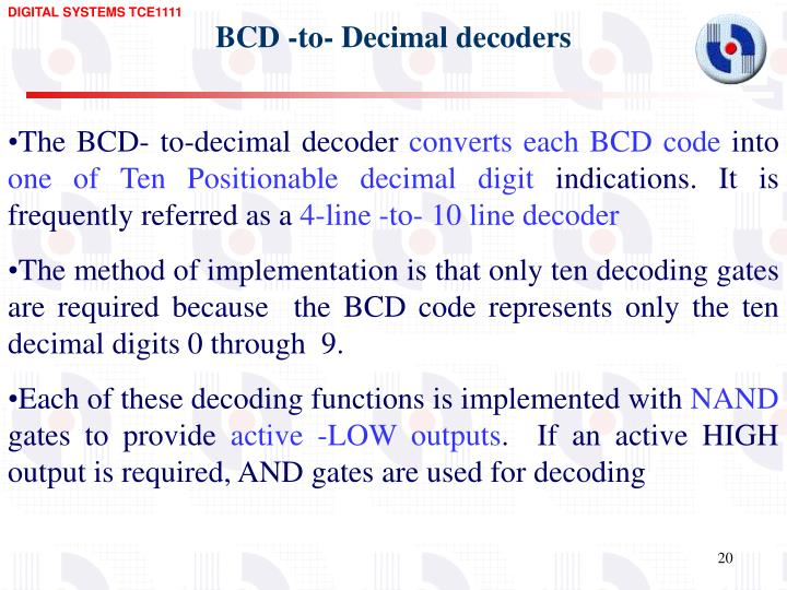 BCD -to- Decimal decoders