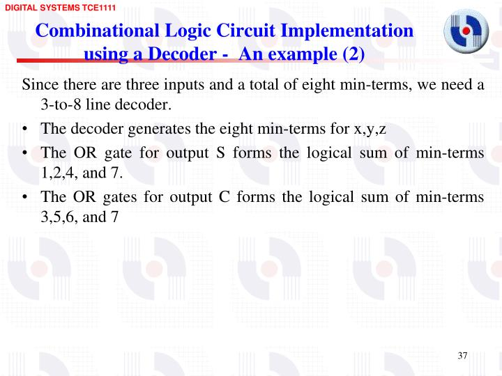Combinational Logic Circuit Implementation using a Decoder -  An example (2)
