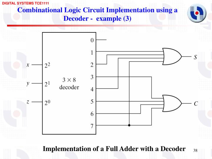 Combinational Logic Circuit Implementation using a Decoder -  example (3)