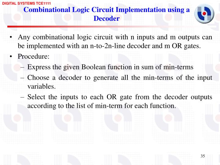 Combinational Logic Circuit Implementation using a Decoder