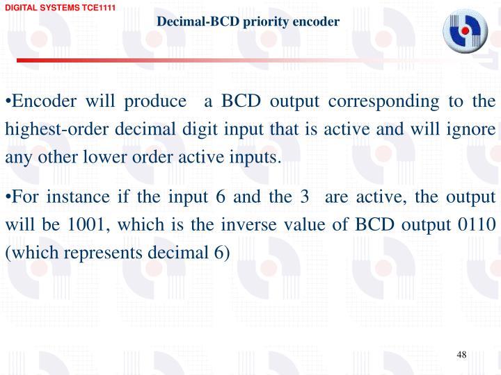 Decimal-BCD priority encoder
