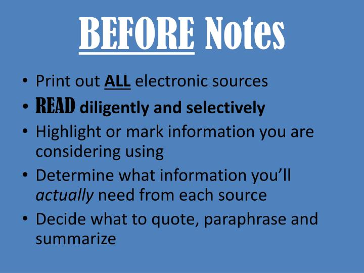 Before notes