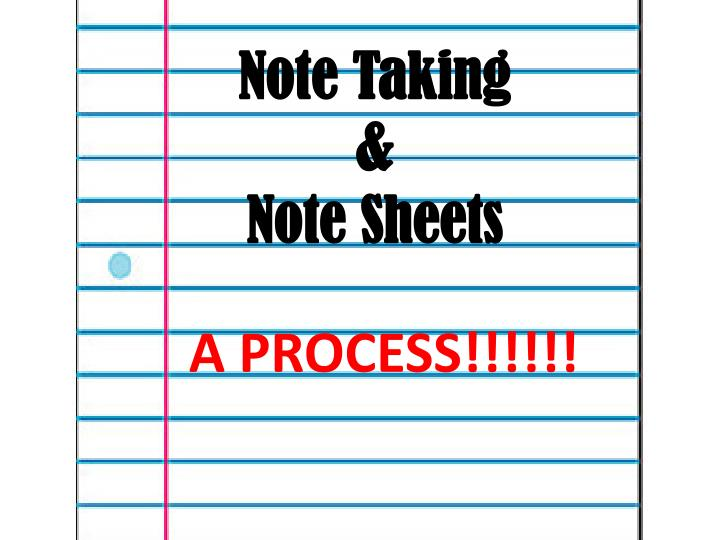 Note taking note sheets