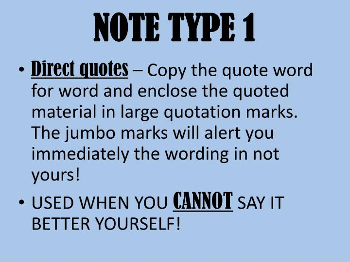 NOTE TYPE 1