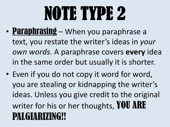 NOTE TYPE 2