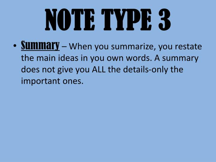 NOTE TYPE 3