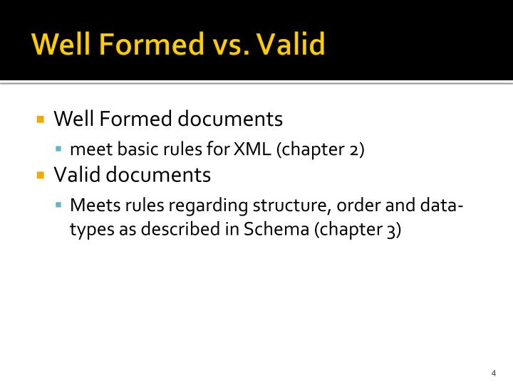 Well Formed vs. Valid
