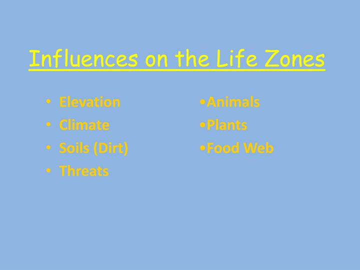 Influences on the life zones