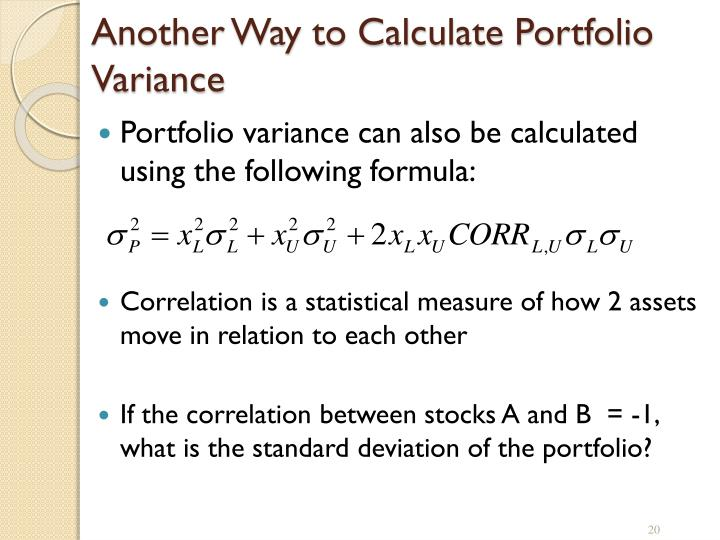 Another Way to Calculate Portfolio Variance