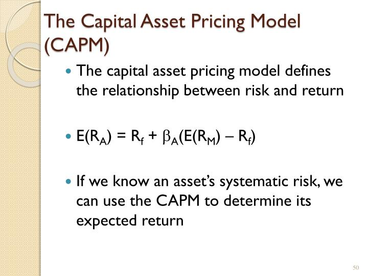 The Capital Asset Pricing