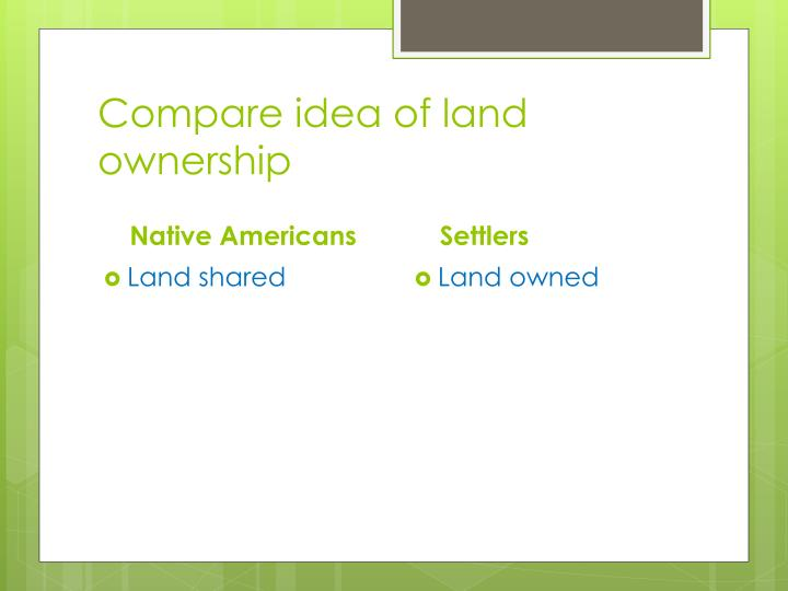 Compare idea of land ownership