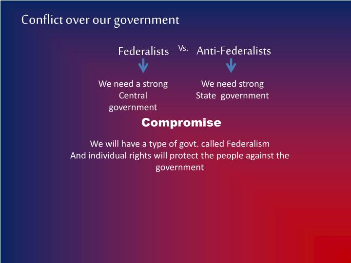 Conflict over our government