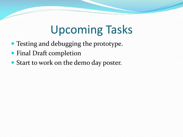 Upcoming Tasks