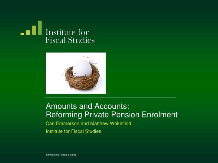 Amounts and Accounts: