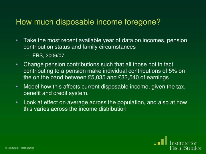 How much disposable income foregone?