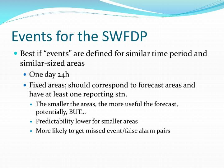 Events for the SWFDP